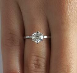 1 Ct Classic 6 Prong Round Cut Diamond Engagement Ring Si2 F White Gold 14k