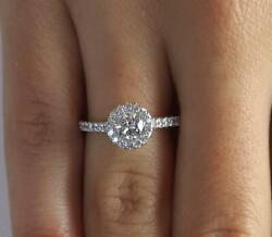 1.05 Ct Classic Pave Round Cut Diamond Engagement Ring Si1 F White Gold 18k