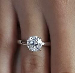 2.25 Ct Classic 4 Prong Round Cut Diamond Engagement Ring Si1 D White Gold 14k