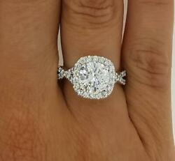 3 Ct Halo Pave Infinity Round Cut Diamond Engagement Ring Vs2 H White Gold 18k