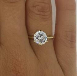 1.5 Ct Classic 6 Prong Round Cut Diamond Engagement Ring Si1 D Yellow Gold 18k