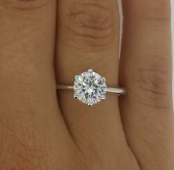 1.75 Ct Classic 6 Prong Round Cut Diamond Engagement Ring Si1 F Certified 14k