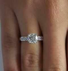 1.5 Ct Pave 4 Prong Round Cut Diamond Engagement Ring Vs1 D Certified 14k