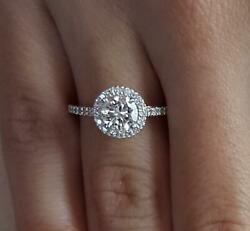 1.65 Ct Pave Halo Round Cut Diamond Engagement Ring Si1 D White Gold 14k