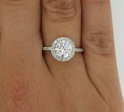 1.75 Ct Pave Halo Round Cut Diamond Engagement Ring Si1 F White Gold 14k