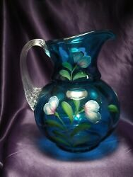 Fenton Presidents 1905-2005 Limited Hand Painted Blue Glass Pitcher