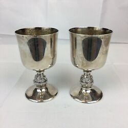 Vintage 1973 Reid And Sons Sterling Silver Pair Of Goblets / Cups Gothic Style