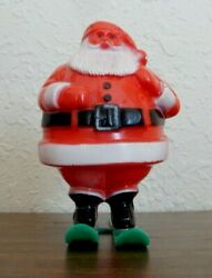 Rosbro Vintage Christmas Santa On Skis Has Pack Candy Container Hard Plastic X