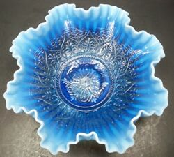 Fenton Art Glass Blue Opalescent Hearts And Flowers 10.5 Ruffled Bowl Signed