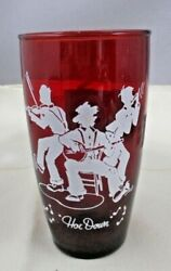4 Four Depression Ruby Red Water Glasses White Enamel 'hoe Down Country Theme