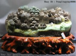 9 Chinese Natural Dushan Jade Propous Flowing Water Lotus Pond Landscape Statue
