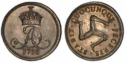 Isle Of Man 1758 Ar Penny Pcgs Pr64 Triskeles Prid 15a Lovely Cabinet Patina.