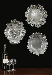 Three 17 Silver Plated Gray Wash Flower Wall Sculptures Bowls Uttermost