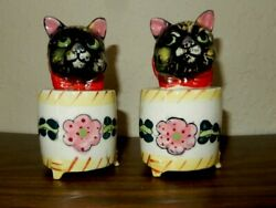 Py Ucagco Japan Cats Kittens In Barrel And Roses Salt And Pepper Shakers B