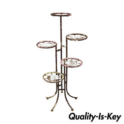 Vintage Hollywood Regency Faux Bamboo 5 Tier Iron Tole Metal Plant Stand
