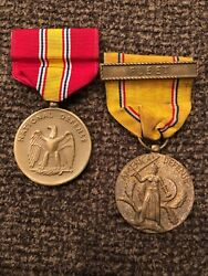 Vintage Wwii National Defense And American Defense Medal Pin Lot W/ Fleet Bar