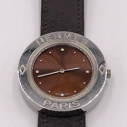 Hermes Passe Passe Red Dial Pp1.610 Unisex Stainless Steel Leather Quartz Watch