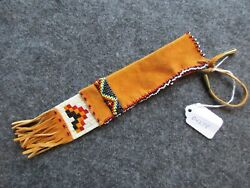 Rare Native American Quilled Leather Awl Bag, Beaded And Quilled Pouch Sd-04278