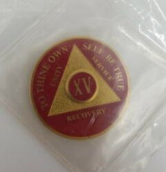 15 Year Aa Coin Red Triplate Alcoholics Anonymous Recovery Medallion Chip Token