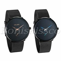 Men's Women's Fashion Black Independent Dial Mesh Band Analog Quartz Wrist Watch