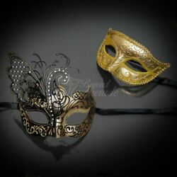 Couple Masquerade Masks Butterfly Masquerade Mask Gold Black