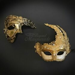 Couple#x27;s Masks Masquerade Masks Steampunk Gold