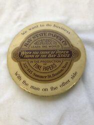 Antique Advertising Celluloid Mirror Bay State Paper Co Boston Mass
