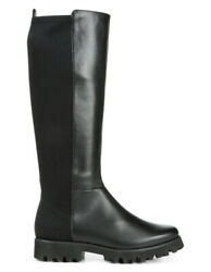 New Donald Pliner Ryker Leather/stretch Panel Knee-high Lug Sole Boot 8.5 Black