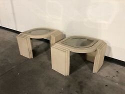 Eye Shaped Post Modern 1980s Textured Side Tables Pair After Bellini Steve Chase