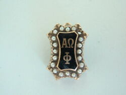 Usa Fraternity Pin Alpha Omega Phi. Made In Gold 10k. Named. Marked. 645