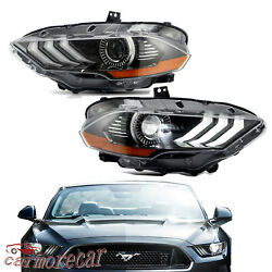 Pair Led Headlights Right And Left Side Dual Beam Drl For Ford Mustang 2018 2019