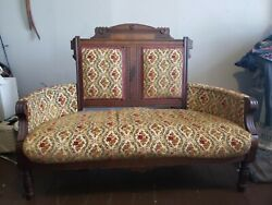 Vintage / Antique Loveseat Wood Mahogany Lion Head Arms Claw Feet