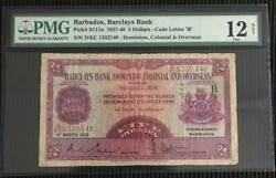 Barclays Bank Barbados 5 1st March 1939 P.s111a Pmg 12 Ex Rare Issued Note