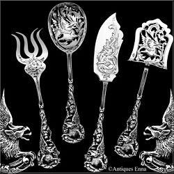 Masterpiece Boivin French Sterling Silver Hors Dand039oeuvre Set 4 Pc Box Dragon