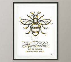 Manchester Bee Watercolor Print This Is Manchester Quote Inspirational Gift-109
