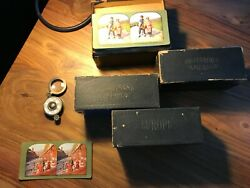 Vintage Stereoview Cards 4-box Set With Antique Stereo Viewer