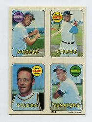 1969 Topps 4-in-1 Test Stickers Proof Rodgers Willie Horton Roy Face Ed Brinkman