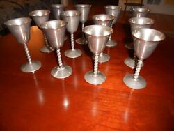 12 Silver Plated Wine Glasses By F.b. Rogers 4-1/2 Tall Italy. Antique Items