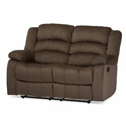 Hollace Modern Cozy Taupe Microsuede Fabric 2-seater Double Dual Recliner Sofa