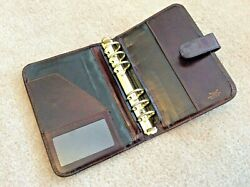 BOSCA Leather Hand Stained Hide COMPACT Brown Planner Binder Franklin Covey USA