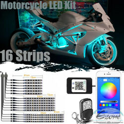 Phone Bluetooth Control Motorcycle Under Glow Accent Neon Light Kit Led 16 Light