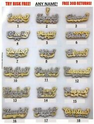 Personalized Silver amp; Gold Script Double Any Name Plate Necklace Free Chain USA $37.14