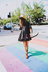 Free People Black Perfectly Victorian Boho Festival Floral Embroider Mini Dress