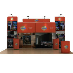 20ft Portable Fabric Trade Show Display Booth Expo Kits With Counter Lights