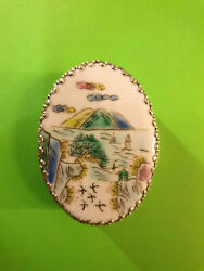 Vintage Sterling Silver Porcelain Miniature Chinese Pillow Snuff Jewelry Box.