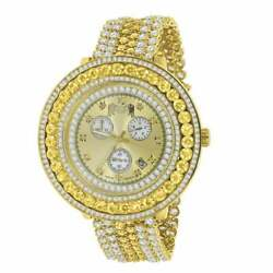 Menand039s Custom Big Face Xxl Multi Cz Canary And White Remove Able Bezel Wrist Watch