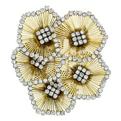 Vintage 18k Gold 6.25ctw Diamond Blooming Flower Large Wire Cluster Brooch Pin