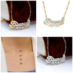 Personalized Silver amp; Gold Script Double Any Name Plate Necklace Free Chain $41.06