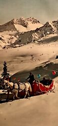 Original Vintage Poster Arosa Swiss Alps - Sleigh Rides With Skiers And Mountains