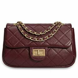 Calfskin Crossbody Bags for Women Leather Quilted Shoulder Bag Handbags wine red $35.00